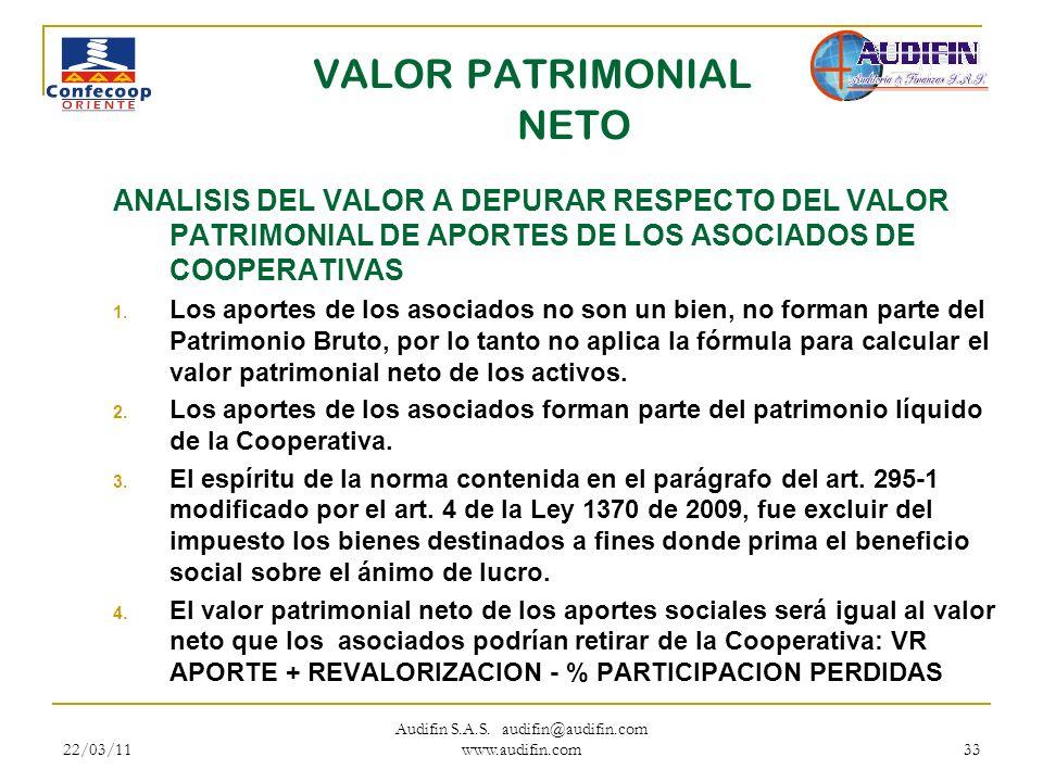 22/03/11 Audifin S.A.S. audifin@audifin.com www.audifin.com 33 VALOR PATRIMONIAL NETO ANALISIS DEL VALOR A DEPURAR RESPECTO DEL VALOR PATRIMONIAL DE A
