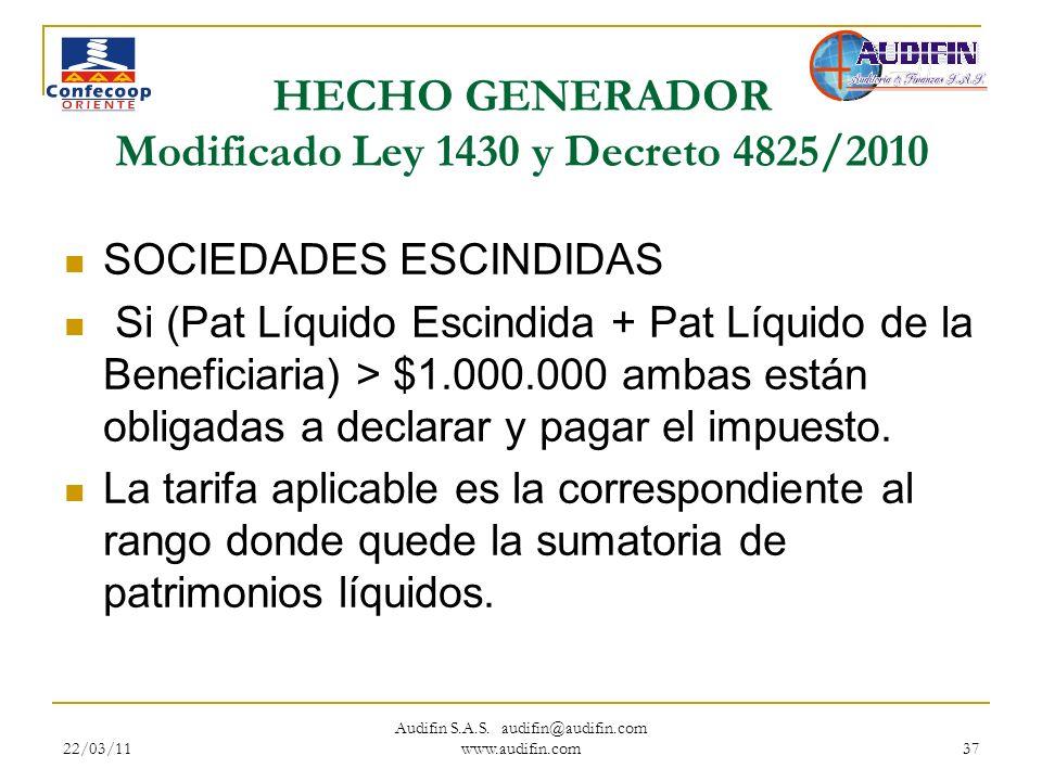 22/03/11 Audifin S.A.S. audifin@audifin.com www.audifin.com 37 HECHO GENERADOR Modificado Ley 1430 y Decreto 4825/2010 SOCIEDADES ESCINDIDAS Si (Pat L