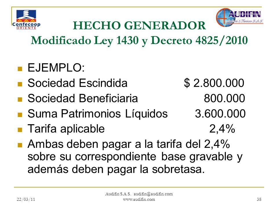 22/03/11 Audifin S.A.S. audifin@audifin.com www.audifin.com 38 HECHO GENERADOR Modificado Ley 1430 y Decreto 4825/2010 EJEMPLO: Sociedad Escindida$ 2.