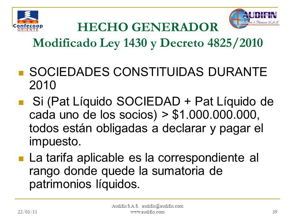 22/03/11 Audifin S.A.S. audifin@audifin.com www.audifin.com 39 HECHO GENERADOR Modificado Ley 1430 y Decreto 4825/2010 SOCIEDADES CONSTITUIDAS DURANTE