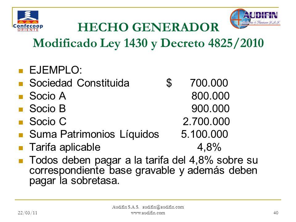 22/03/11 Audifin S.A.S. audifin@audifin.com www.audifin.com 40 HECHO GENERADOR Modificado Ley 1430 y Decreto 4825/2010 EJEMPLO: Sociedad Constituida$