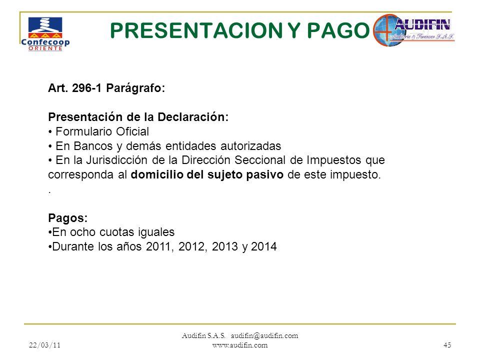 22/03/11 Audifin S.A.S. audifin@audifin.com www.audifin.com 45 PRESENTACION Y PAGO Art. 296-1 Parágrafo: Presentación de la Declaración: Formulario Of