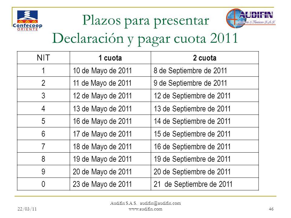 22/03/11 Audifin S.A.S. audifin@audifin.com www.audifin.com 46 Plazos para presentar Declaración y pagar cuota 2011 NIT 1 cuota2 cuota 110 de Mayo de