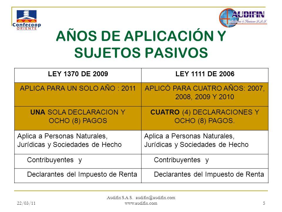22/03/11 Audifin S.A.S. audifin@audifin.com www.audifin.com 5 AÑOS DE APLICACIÓN Y SUJETOS PASIVOS LEY 1370 DE 2009LEY 1111 DE 2006 APLICA PARA UN SOL