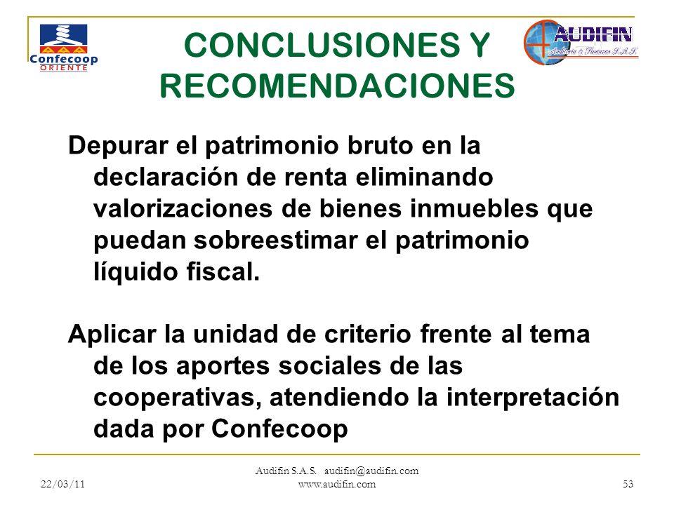 22/03/11 Audifin S.A.S. audifin@audifin.com www.audifin.com 53 CONCLUSIONES Y RECOMENDACIONES Depurar el patrimonio bruto en la declaración de renta e