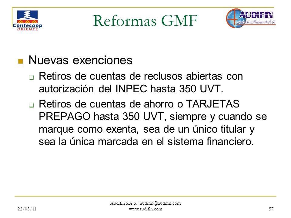 22/03/11 Audifin S.A.S. audifin@audifin.com www.audifin.com 57 Reformas GMF Nuevas exenciones Retiros de cuentas de reclusos abiertas con autorización
