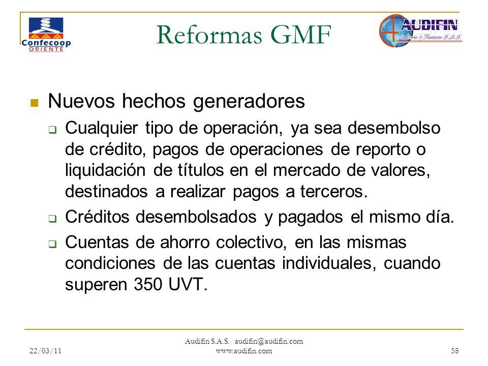 22/03/11 Audifin S.A.S. audifin@audifin.com www.audifin.com 58 Reformas GMF Nuevos hechos generadores Cualquier tipo de operación, ya sea desembolso d