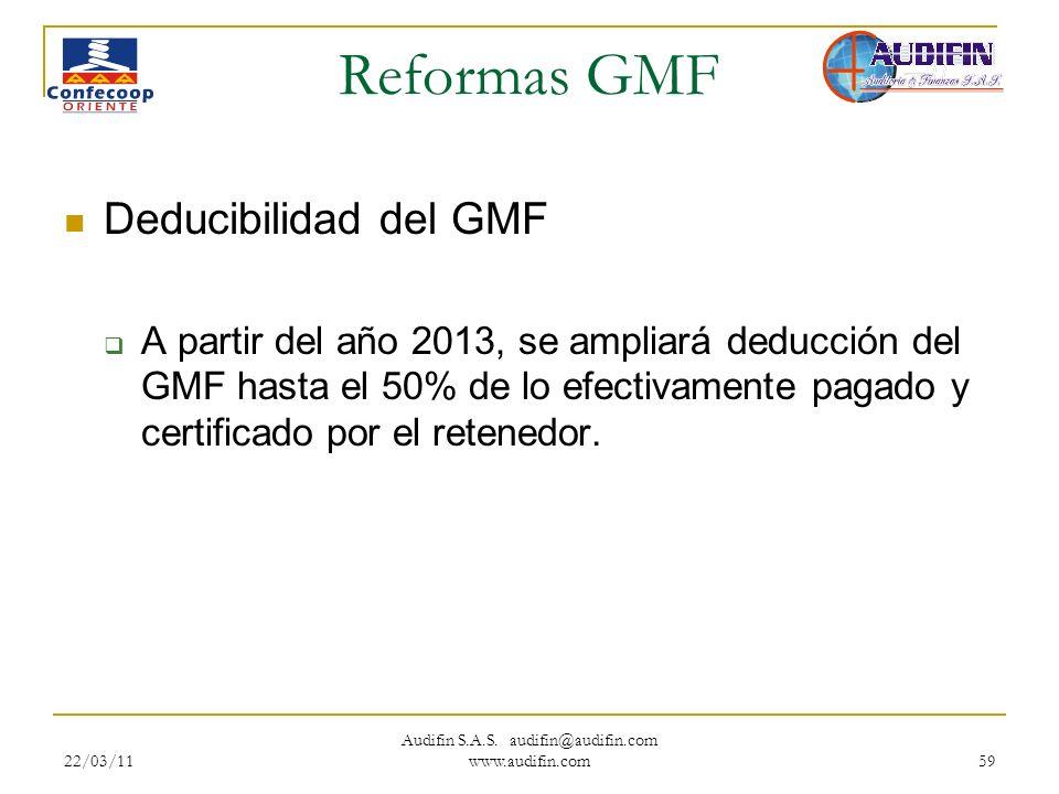22/03/11 Audifin S.A.S. audifin@audifin.com www.audifin.com 59 Reformas GMF Deducibilidad del GMF A partir del año 2013, se ampliará deducción del GMF