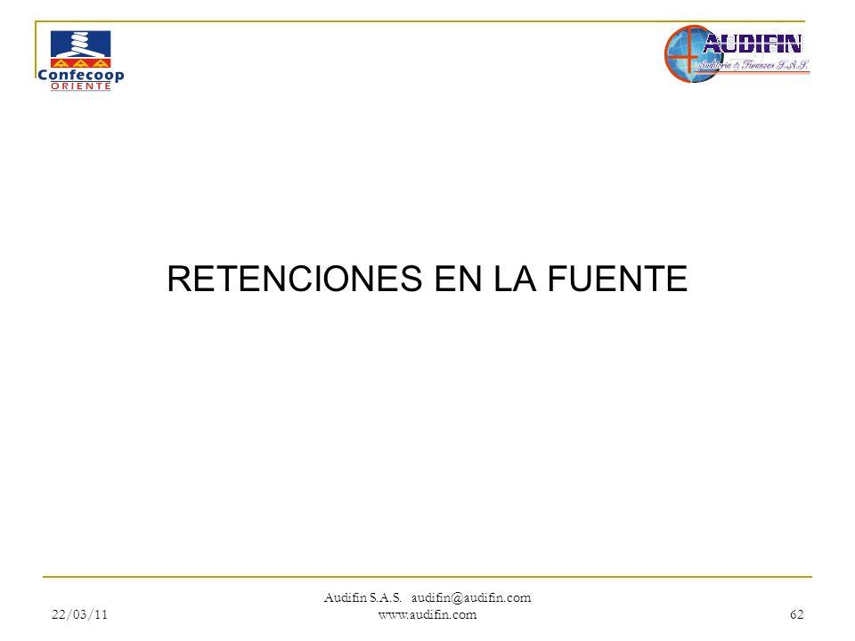 22/03/11 Audifin S.A.S. audifin@audifin.com www.audifin.com 62 RETENCIONES EN LA FUENTE