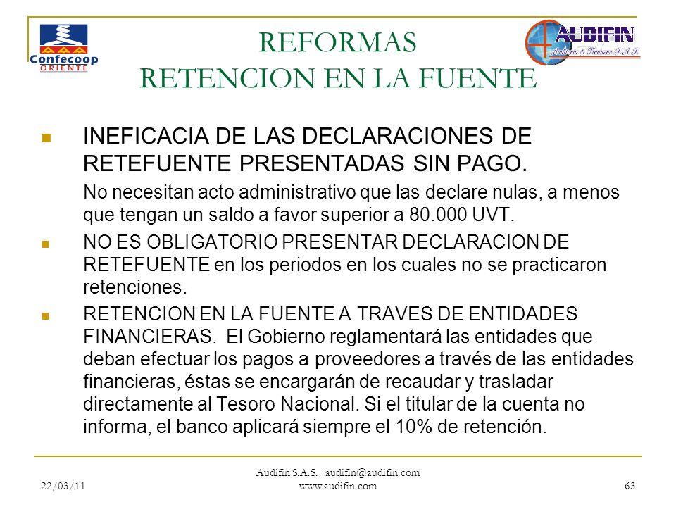 22/03/11 Audifin S.A.S. audifin@audifin.com www.audifin.com 63 REFORMAS RETENCION EN LA FUENTE INEFICACIA DE LAS DECLARACIONES DE RETEFUENTE PRESENTAD