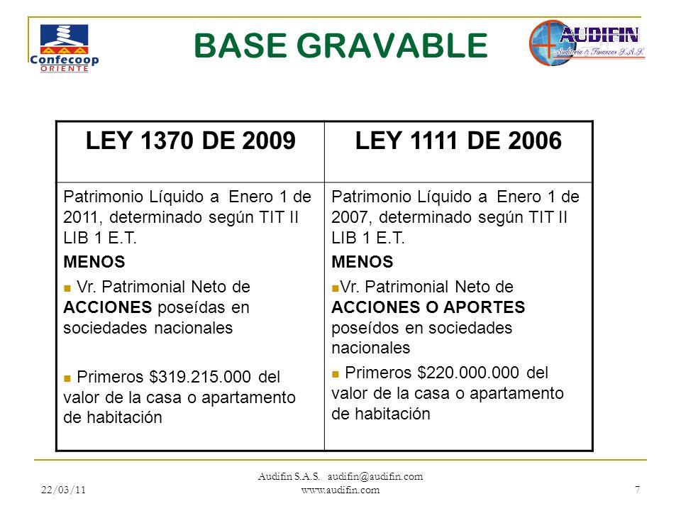 22/03/11 Audifin S.A.S. audifin@audifin.com www.audifin.com 7 BASE GRAVABLE LEY 1370 DE 2009LEY 1111 DE 2006 Patrimonio Líquido a Enero 1 de 2011, det
