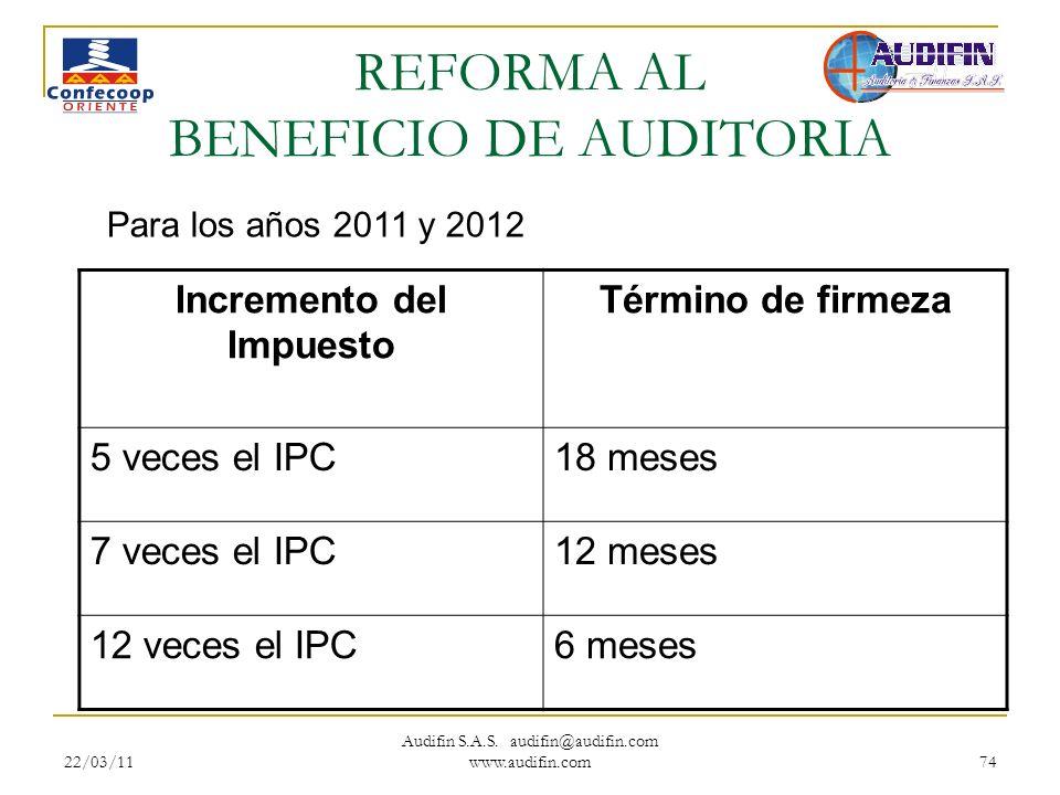 22/03/11 Audifin S.A.S. audifin@audifin.com www.audifin.com 74 REFORMA AL BENEFICIO DE AUDITORIA Incremento del Impuesto Término de firmeza 5 veces el