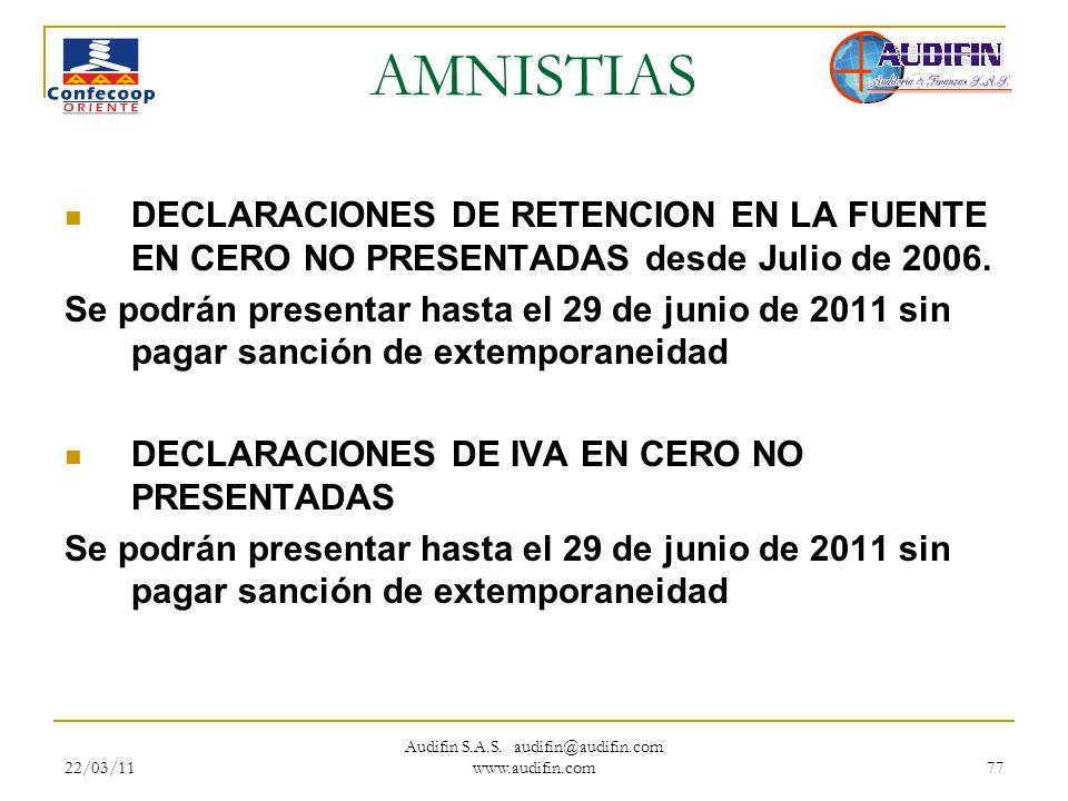 22/03/11 Audifin S.A.S. audifin@audifin.com www.audifin.com 77 AMNISTIAS DECLARACIONES DE RETENCION EN LA FUENTE EN CERO NO PRESENTADAS desde Julio de