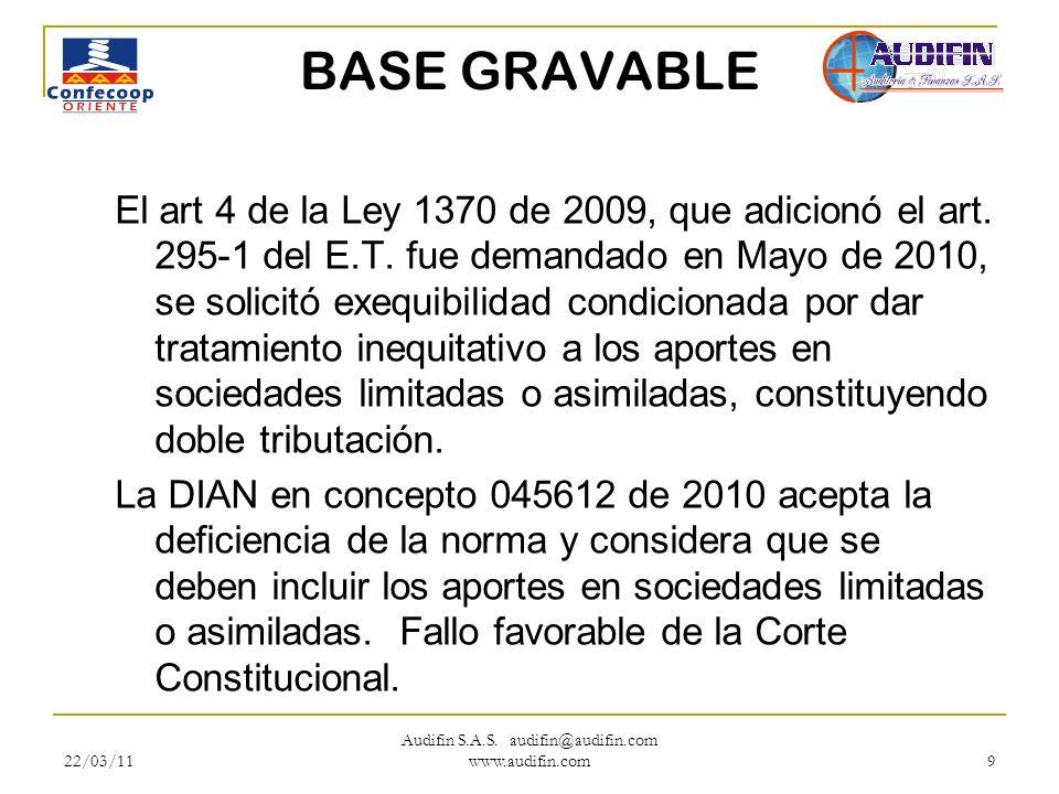 22/03/11 Audifin S.A.S. audifin@audifin.com www.audifin.com 9 BASE GRAVABLE El art 4 de la Ley 1370 de 2009, que adicionó el art. 295-1 del E.T. fue d