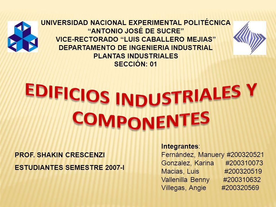 UNIVERSIDAD NACIONAL EXPERIMENTAL POLITÉCNICA ANTONIO JOSÉ DE SUCRE VICE-RECTORADO LUIS CABALLERO MEJIAS DEPARTAMENTO DE INGENIERIA INDUSTRIAL PLANTAS INDUSTRIALES SECCIÓN: 01 Integrantes: Fernández, Manuery #200320521 Gonzalez, Karina #200310073 Macias, Luis #200320519 Vallenilla Benny #200310632 Villegas, Angie #200320569 PROF.