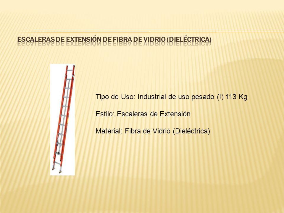 Tipo de Uso: Industrial de uso pesado (I) 113 Kg Estilo: Escaleras de Extensión Material: Fibra de Vidrio (Dieléctrica)