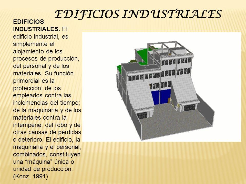 EDIFICIOS INDUSTRIALES. El edificio industrial, es simplemente el alojamiento de los procesos de producción, del personal y de los materiales. Su func