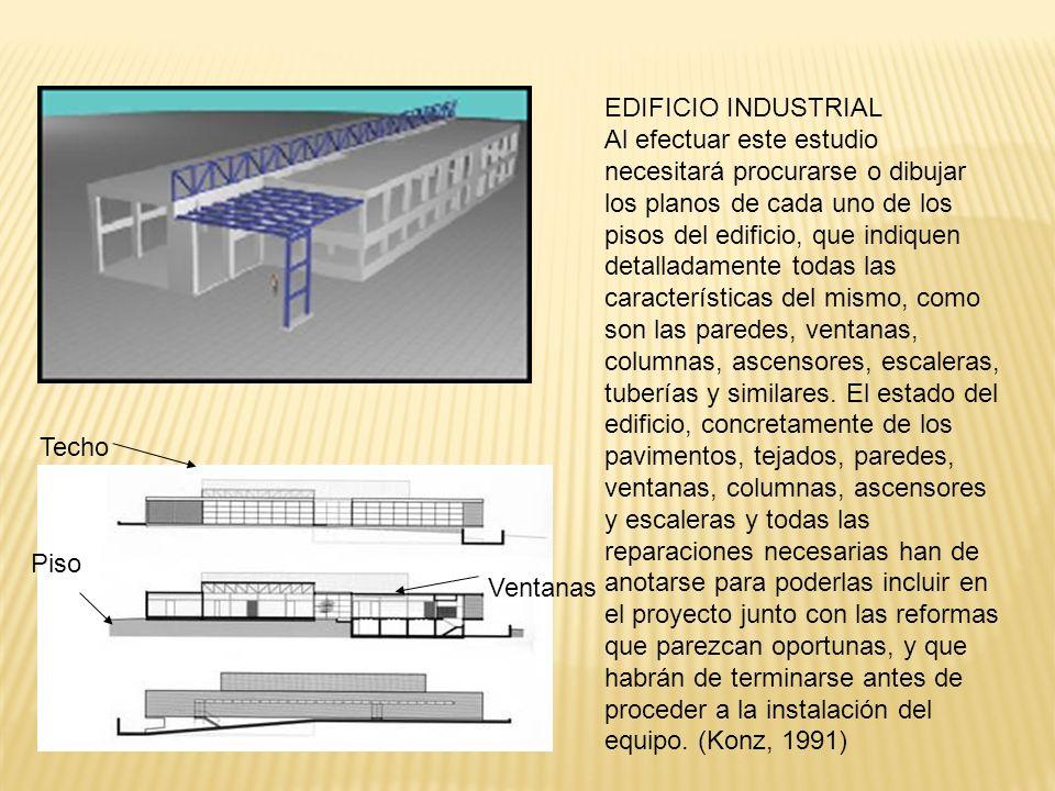 EDIFICIO INDUSTRIAL Al efectuar este estudio necesitará procurarse o dibujar los planos de cada uno de los pisos del edificio, que indiquen detalladamente todas las características del mismo, como son las paredes, ventanas, columnas, ascensores, escaleras, tuberías y similares.