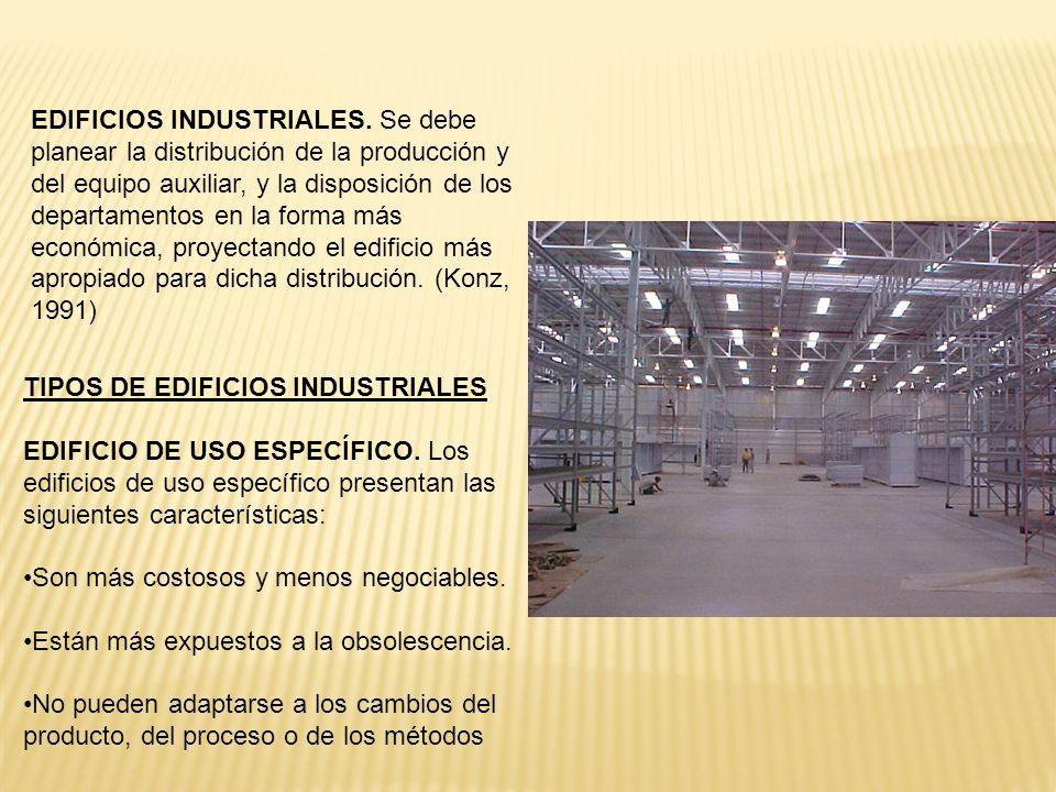EDIFICIOS INDUSTRIALES. Se debe planear la distribución de la producción y del equipo auxiliar, y la disposición de los departamentos en la forma más
