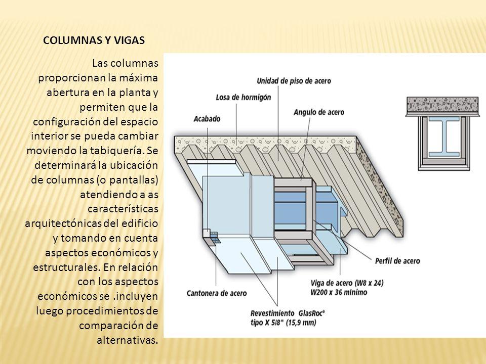COLUMNAS Y VIGAS Las columnas proporcionan la máxima abertura en la planta y permiten que la configuración del espacio interior se pueda cambiar moviendo la tabiquería.