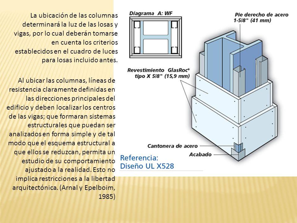 La ubicación de las columnas determinará la luz de las losas y vigas, por lo cual deberán tomarse en cuenta los criterios establecidos en el cuadro de