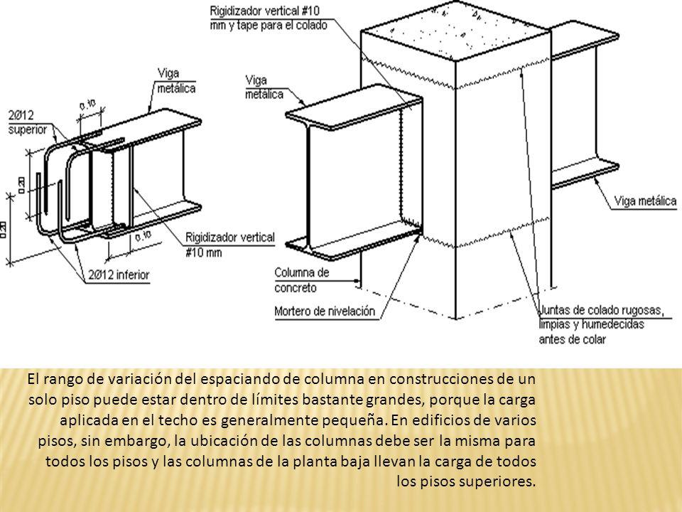 El rango de variación del espaciando de columna en construcciones de un solo piso puede estar dentro de límites bastante grandes, porque la carga apli