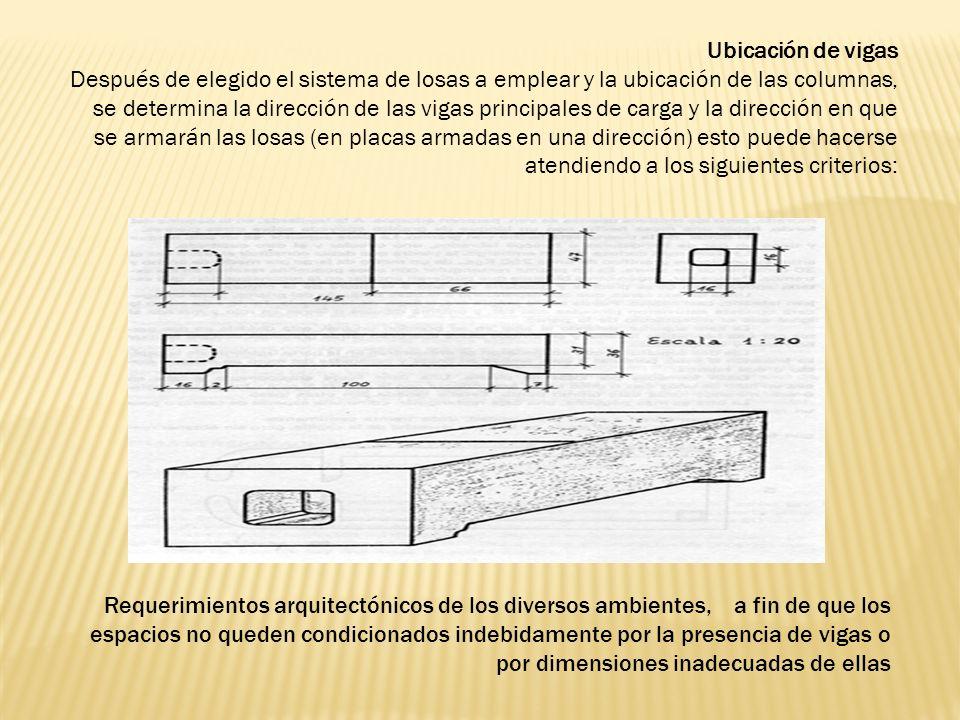 Ubicación de vigas Después de elegido el sistema de losas a emplear y la ubicación de las columnas, se determina la dirección de las vigas principales