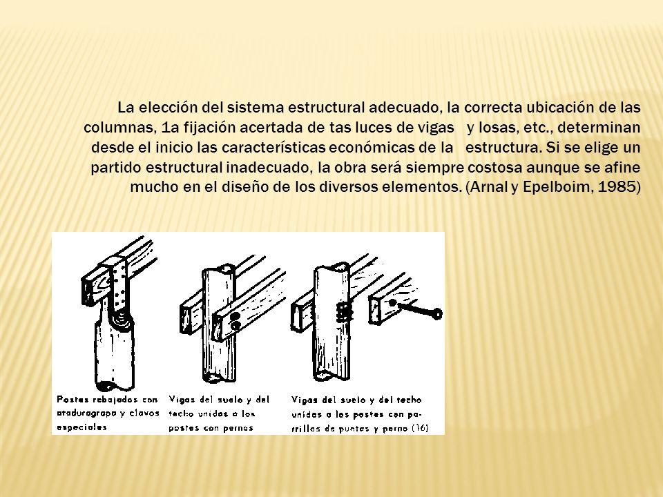La elección del sistema estructural adecuado, la correcta ubicación de las columnas, 1a fijación acertada de tas luces de vigas y losas, etc., determinan desde el inicio las características económicas de la estructura.