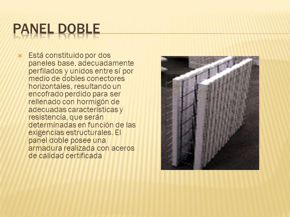 Está constituido por dos paneles base, adecuadamente perfilados y unidos entre sí por medio de dobles conectores horizontales, resultando un encofrado