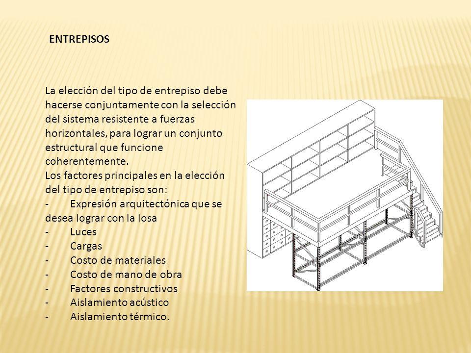 ENTREPISOS La elección del tipo de entrepiso debe hacerse conjuntamente con la selección del sistema resistente a fuerzas horizontales, para lograr un conjunto estructural que funcione coherentemente.