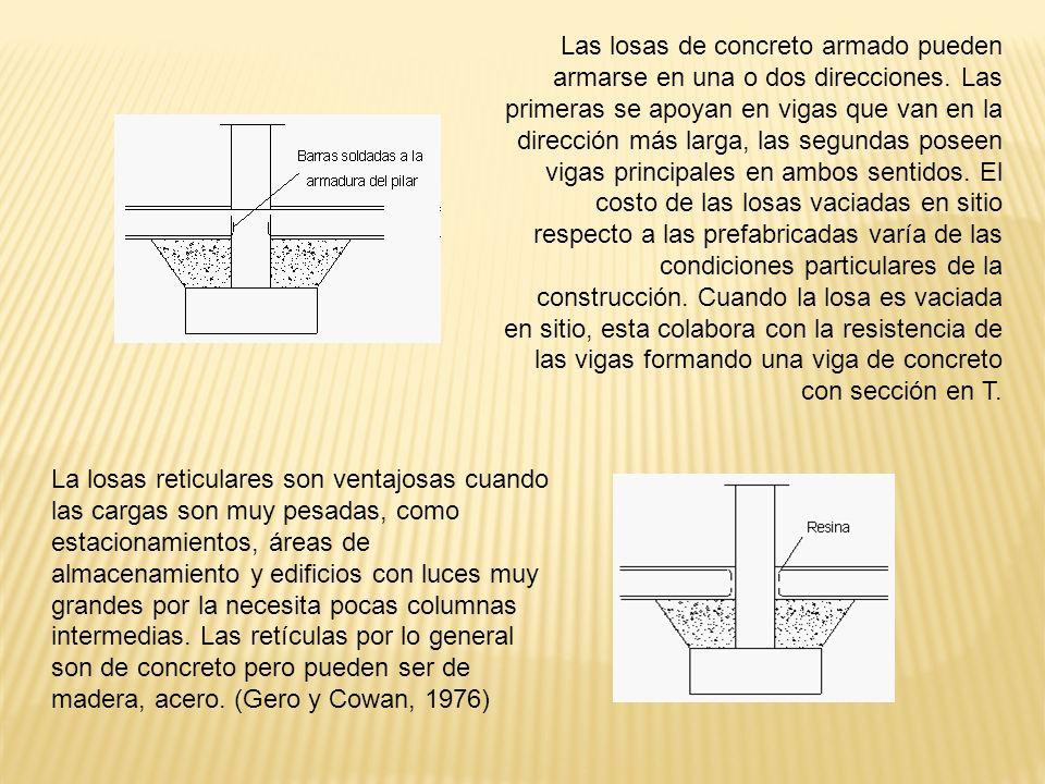 Las losas de concreto armado pueden armarse en una o dos direcciones. Las primeras se apoyan en vigas que van en la dirección más larga, las segundas