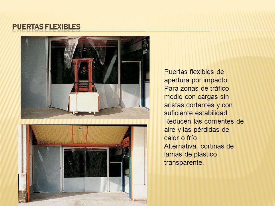 Puertas flexibles de apertura por impacto.