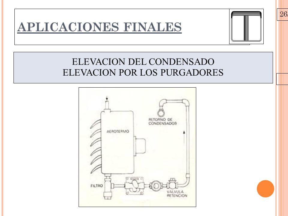 26/10/09 APLICACIONES FINALES ELEVACION DEL CONDENSADO ELEVACION POR LOS PURGADORES