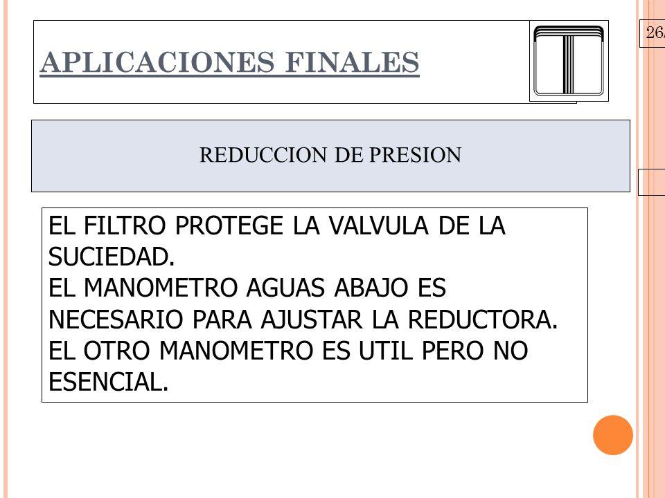 26/10/09 APLICACIONES FINALES REDUCCION DE PRESION EL FILTRO PROTEGE LA VALVULA DE LA SUCIEDAD.