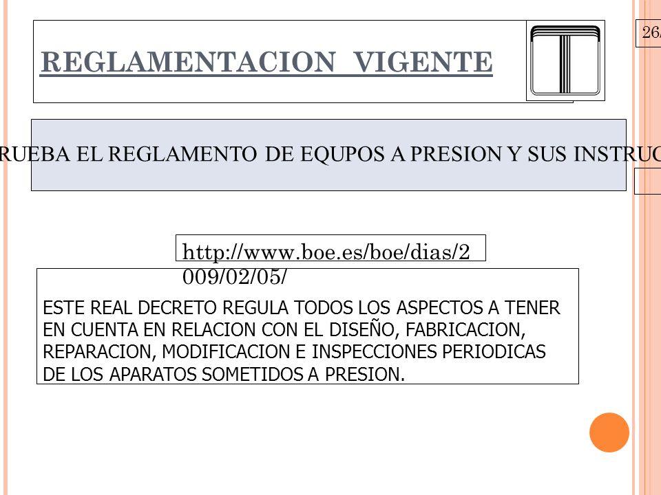 26/10/09 REGLAMENTACION VIGENTE REAL DECRETO 2060/2008 DE 12 DE DICIEMBRE, POR EL QUE APRUEBA EL REGLAMENTO DE EQUPOS A PRESION Y SUS INSTRUCCIONES TECNICAS COMPLEMENTARIAS.