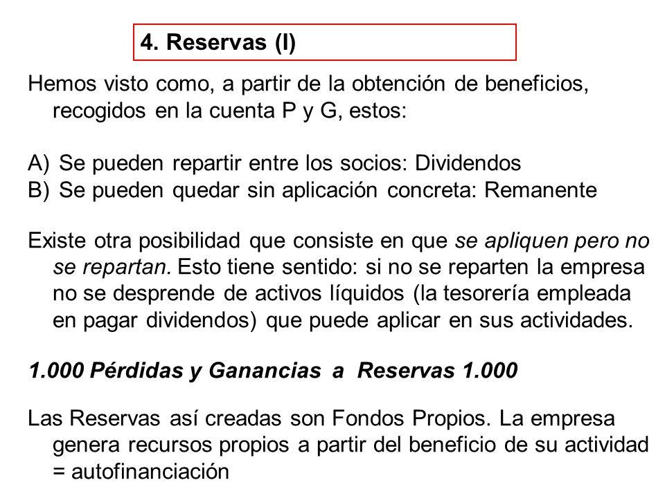 4. Reservas (I) Hemos visto como, a partir de la obtención de beneficios, recogidos en la cuenta P y G, estos: A) Se pueden repartir entre los socios: