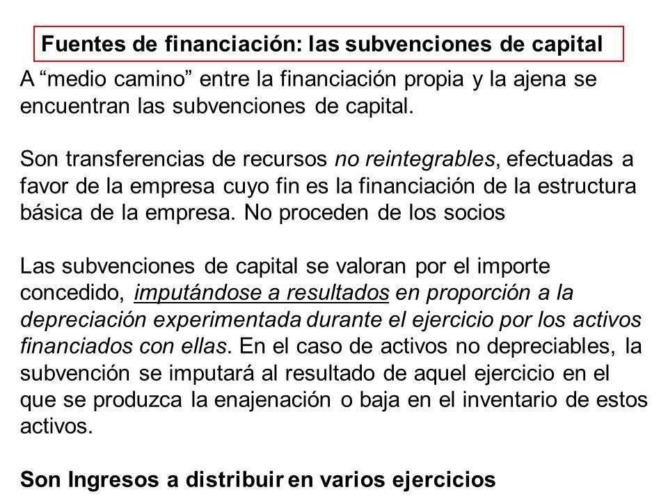 Fuentes de financiación: las subvenciones de capital A medio camino entre la financiación propia y la ajena se encuentran las subvenciones de capital.