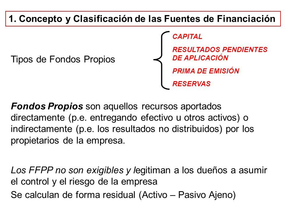 Tipos de Fondos Propios Fondos Propios son aquellos recursos aportados directamente (p.e. entregando efectivo u otros activos) o indirectamente (p.e.