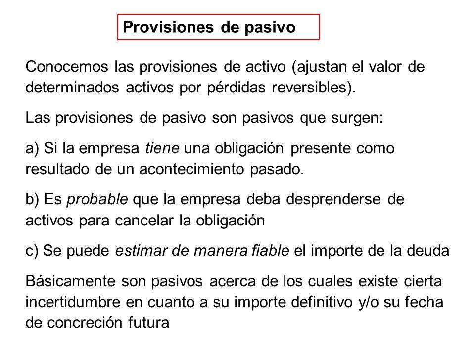 Provisiones de pasivo Conocemos las provisiones de activo (ajustan el valor de determinados activos por pérdidas reversibles). Las provisiones de pasi