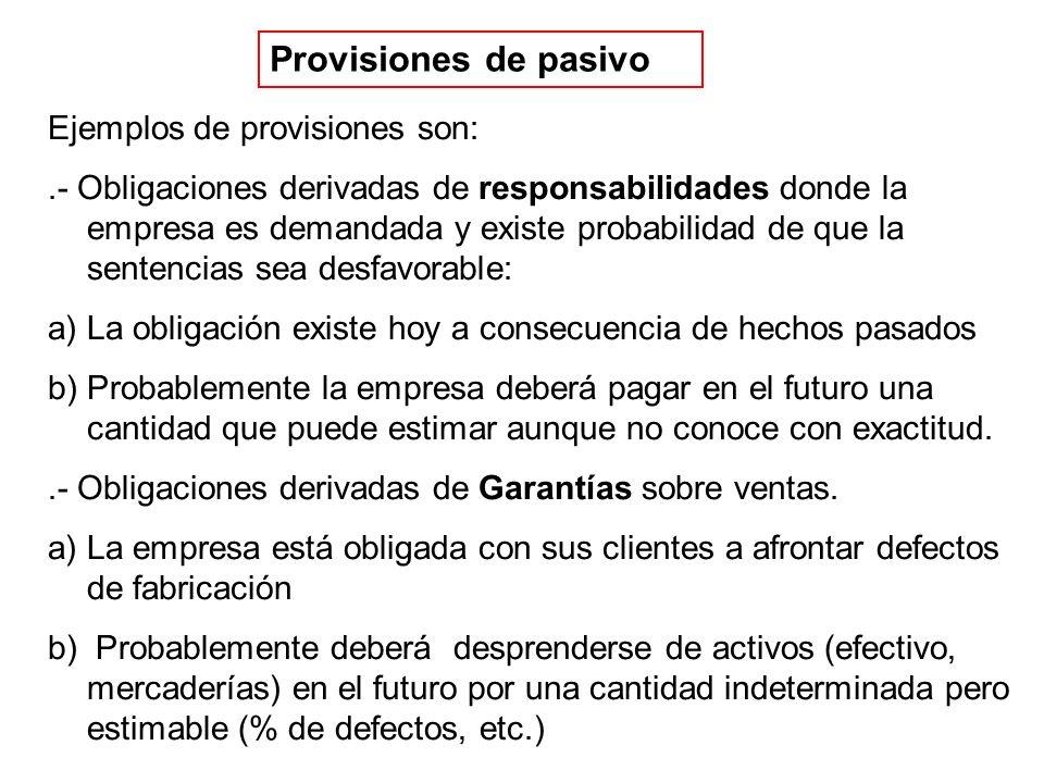 Provisiones de pasivo Ejemplos de provisiones son:.- Obligaciones derivadas de responsabilidades donde la empresa es demandada y existe probabilidad d