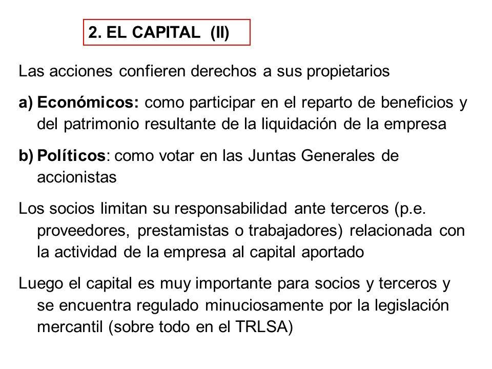 2. EL CAPITAL (II) Las acciones confieren derechos a sus propietarios a)Económicos: como participar en el reparto de beneficios y del patrimonio resul