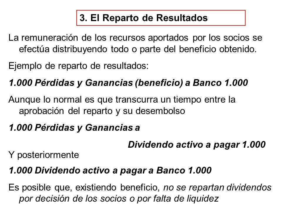 3. El Reparto de Resultados La remuneración de los recursos aportados por los socios se efectúa distribuyendo todo o parte del beneficio obtenido. Eje