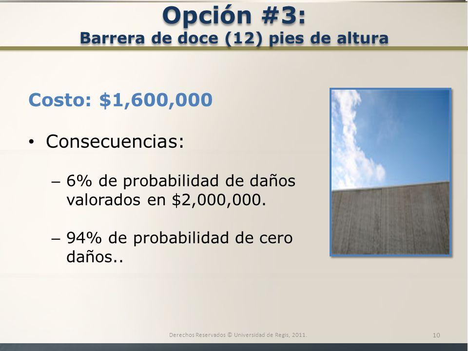Opción #3: Barrera de doce (12) pies de altura Costo: $1,600,000 Consecuencias: – 6% de probabilidad de daños valorados en $2,000,000.