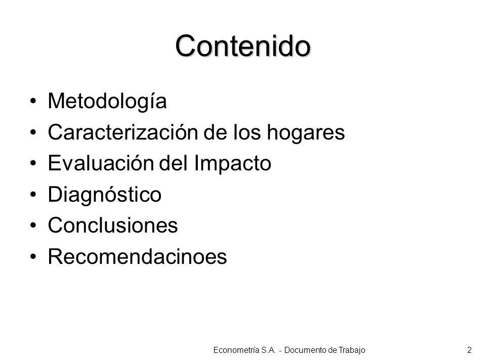 Contenido Metodología Caracterización de los hogares Evaluación del Impacto Diagnóstico Conclusiones Recomendacinoes Econometría S.A. - Documento de T