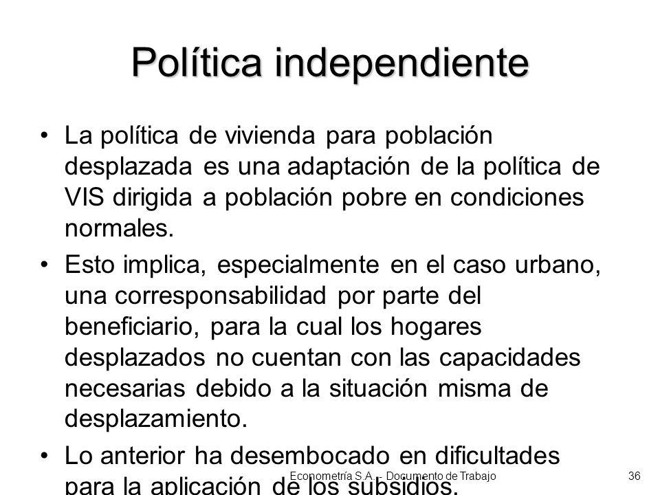 Política independiente La política de vivienda para población desplazada es una adaptación de la política de VIS dirigida a población pobre en condici