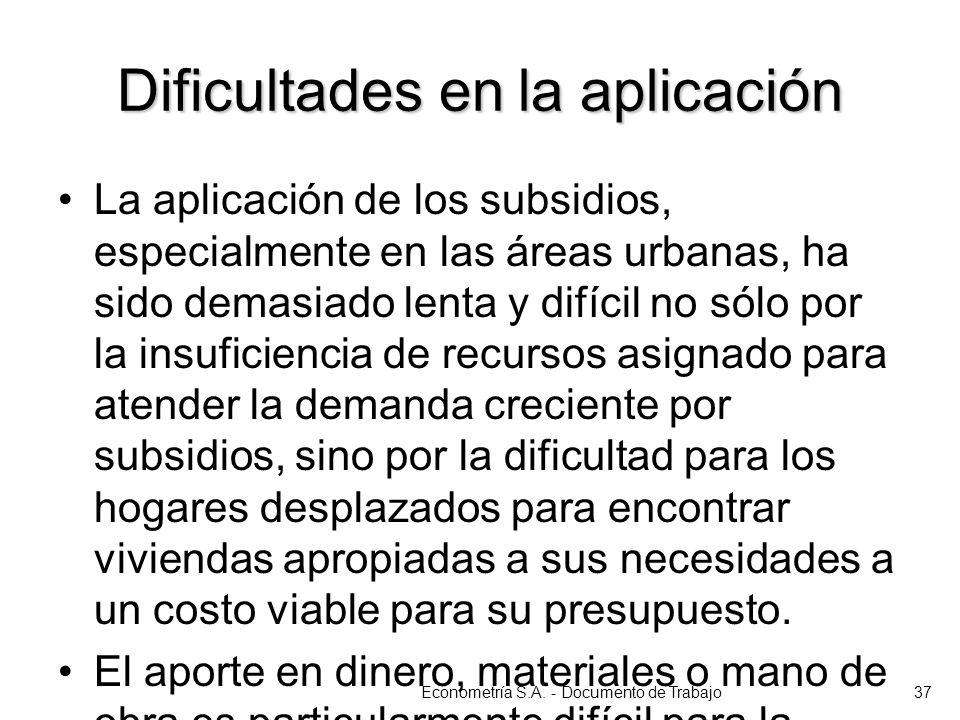 Dificultades en la aplicación La aplicación de los subsidios, especialmente en las áreas urbanas, ha sido demasiado lenta y difícil no sólo por la ins