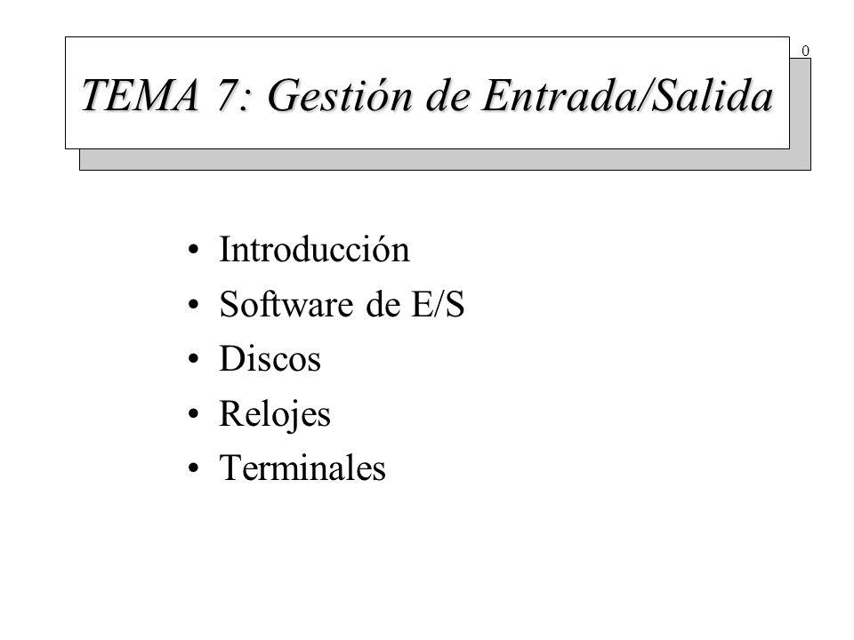 0 TEMA 7: Gestión de Entrada/Salida Introducción Software de E/S Discos Relojes Terminales