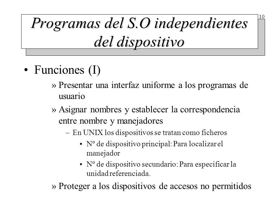 10 Programas del S.O independientes del dispositivo Funciones (I) »Presentar una interfaz uniforme a los programas de usuario »Asignar nombres y estab