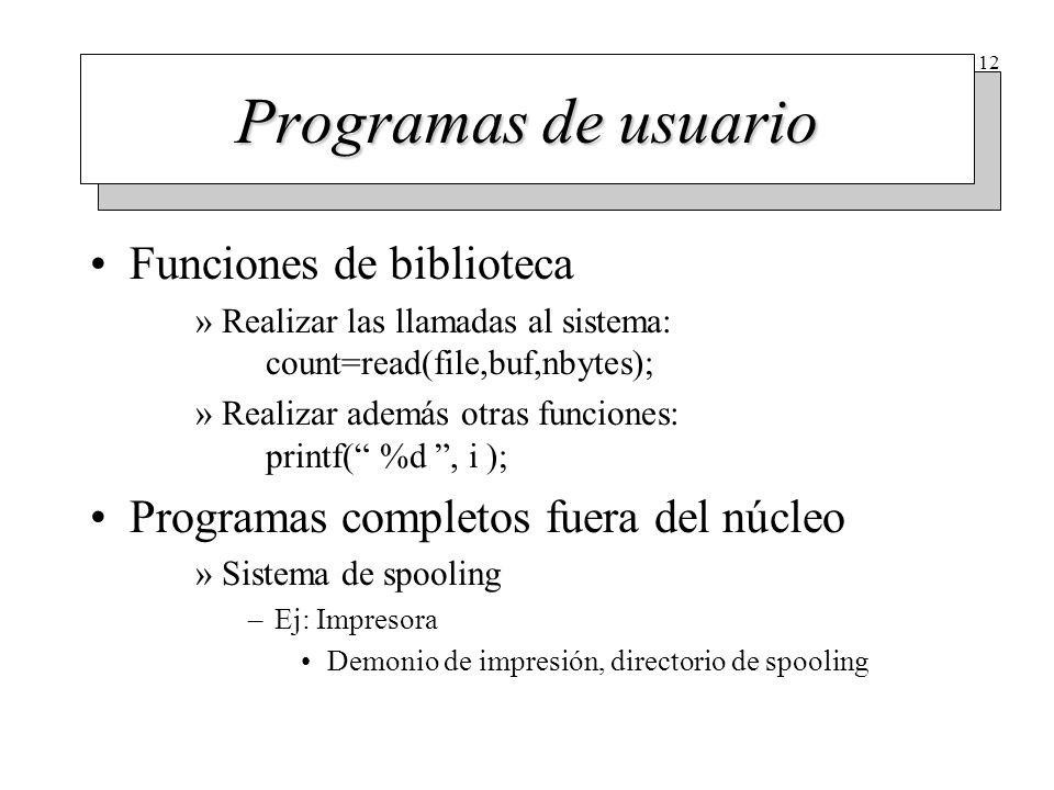 12 Programas de usuario Funciones de biblioteca »Realizar las llamadas al sistema: count=read(file,buf,nbytes); »Realizar además otras funciones: prin
