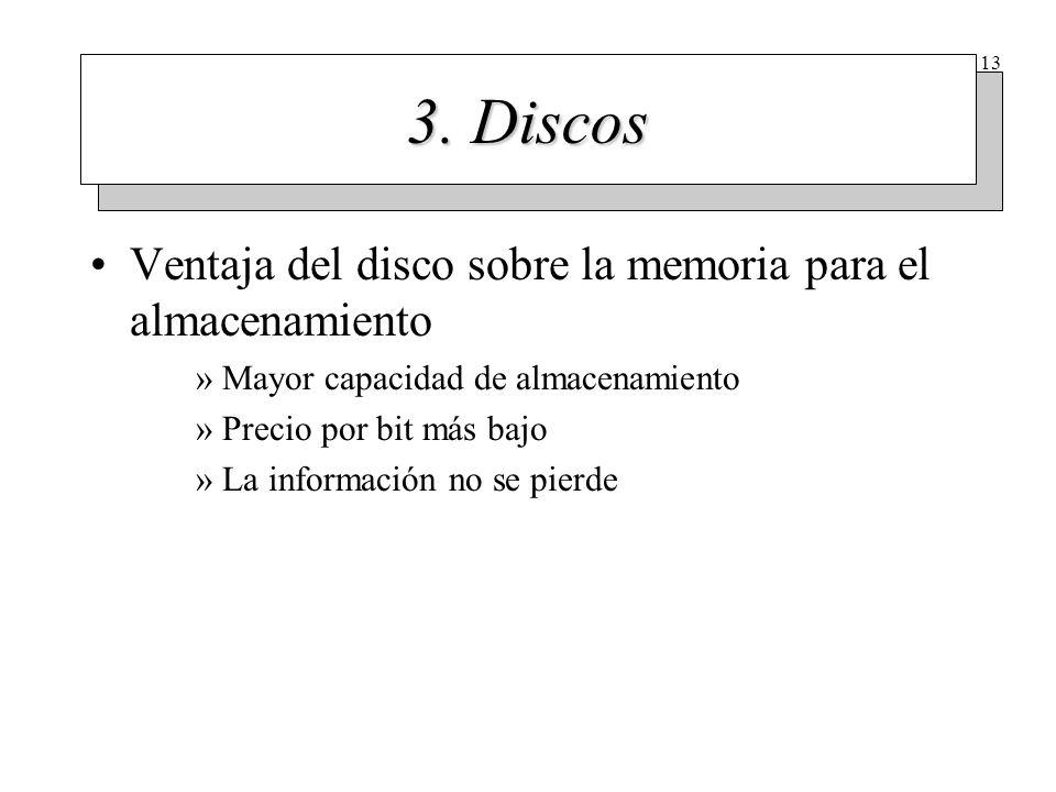 13 3. Discos Ventaja del disco sobre la memoria para el almacenamiento »Mayor capacidad de almacenamiento »Precio por bit más bajo »La información no